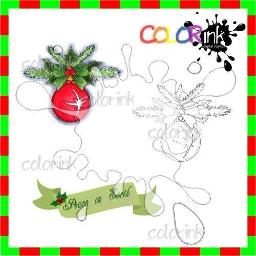 Ornament 3 and sentiment Digi stamp