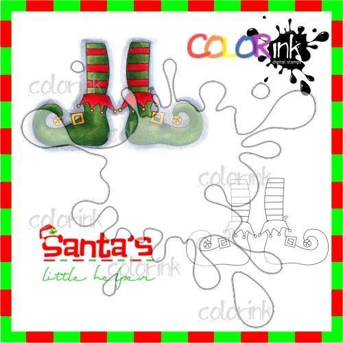 Elf style and sentiment Digi stamp
