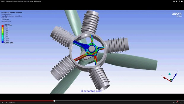 ANSYS Workbench MECHDAT file and 3D model for radial engine