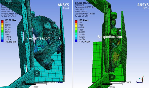 ANSYS Workbench 19.1 archive with 2 x FEA cases +  2 x 3D models for bumper impacting hip