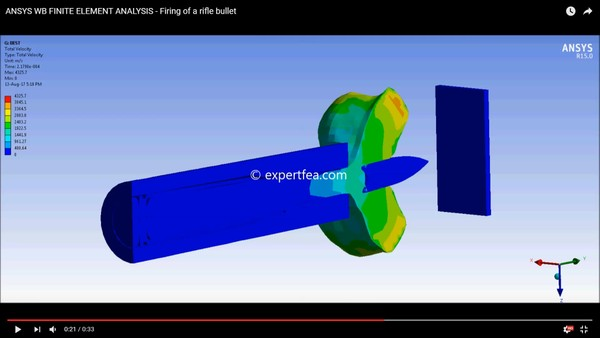 MECHDAT file and 3D model for ANSYS Workbench FEA of rifle-bullet-plate