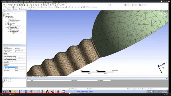 ANSYS Workbench MECHDAT file and 3D model for rubber spheres falling on a steel plate