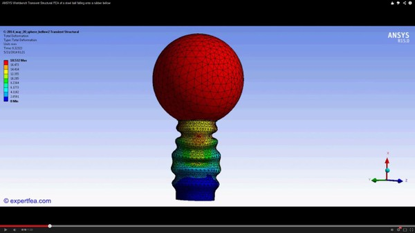 ANSYS Workbench MECHDAT file and 3D model for ball falling on bellow