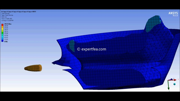 MECHDAT file and 3D model for ANSYS Workbench FEA of bullet-water-bucket