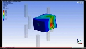 ANSYS Workbench MECHDAT file and 3D model for rubber cube on pins