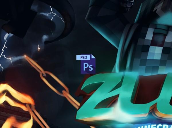 { PSD File } ZLUX Minecraft Banner Process