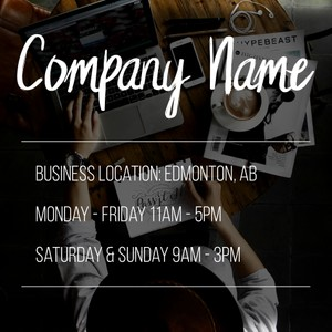 Template for business name and hours