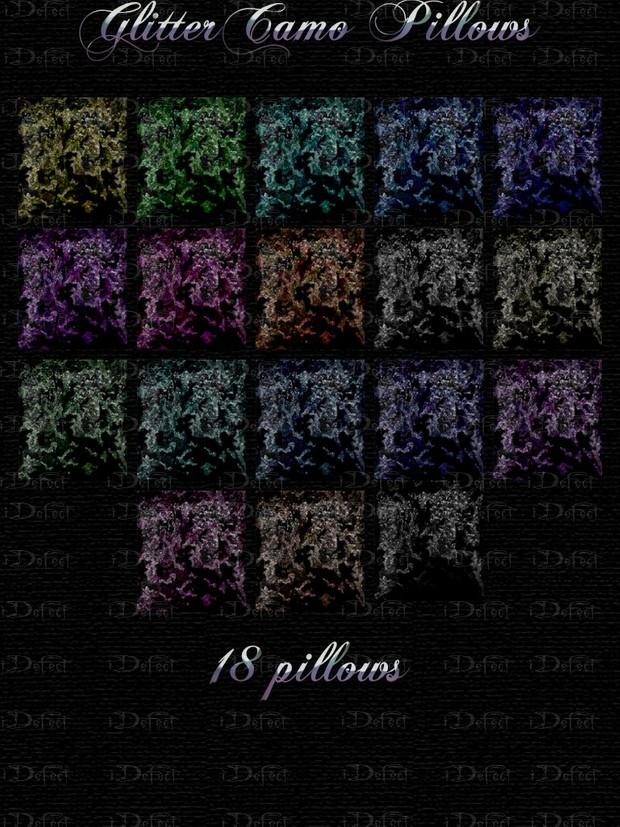 Glitter Camo Pillows