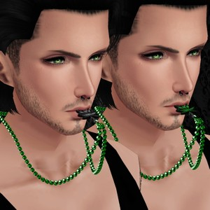 Male Green Pearls w/Weed Necklace