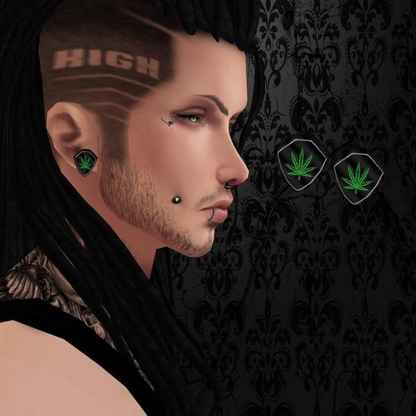 Male Black Weed Earrings