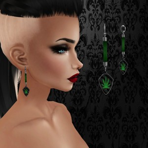 Female Black Weed Earrings - W/Resell Rights