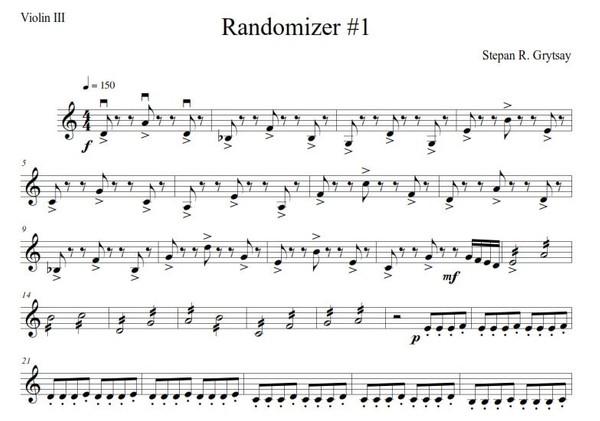 """Quartet """"Randomizer"""" by Stepan Grytsay (Score - PDF)."""