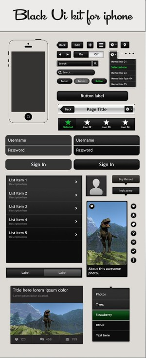 Black Ui kit for Iphone