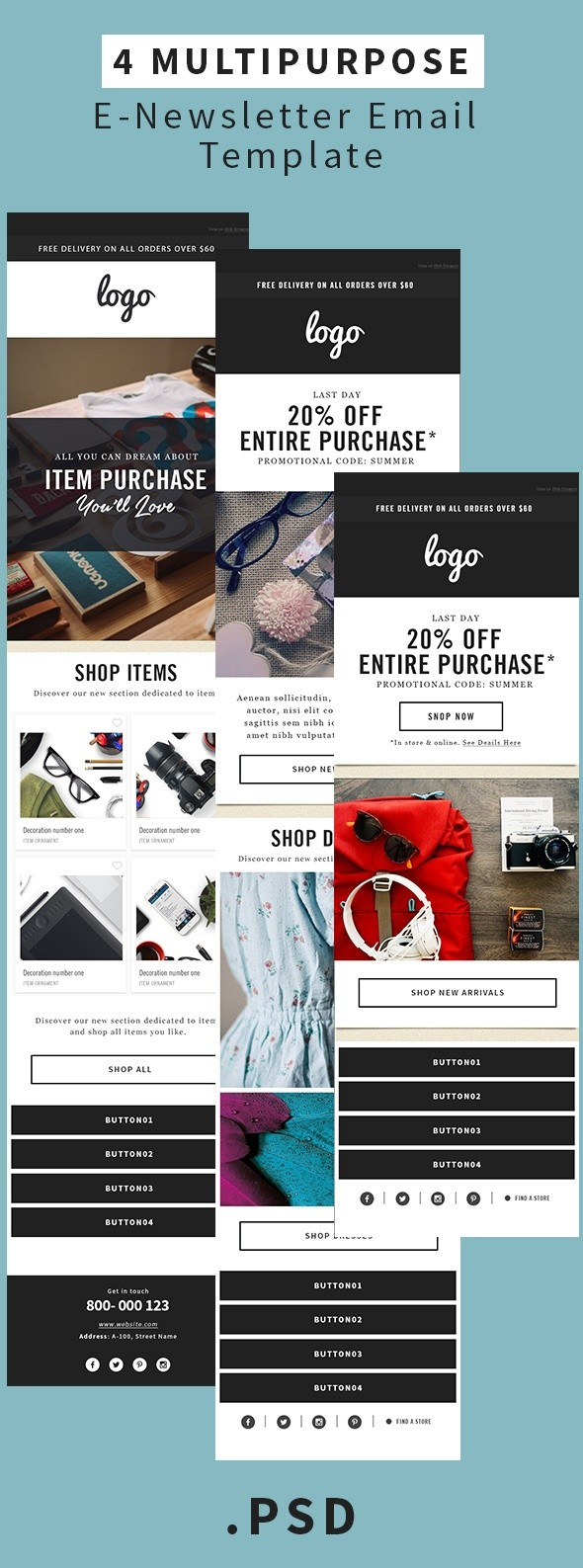 Multipurpose E-Newsletter Email Template Minimalis