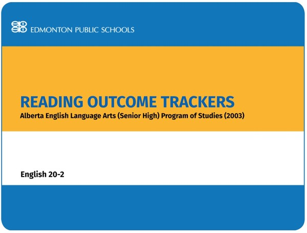 Reading Outcome Trackers for the English Language Arts POS English 20-2