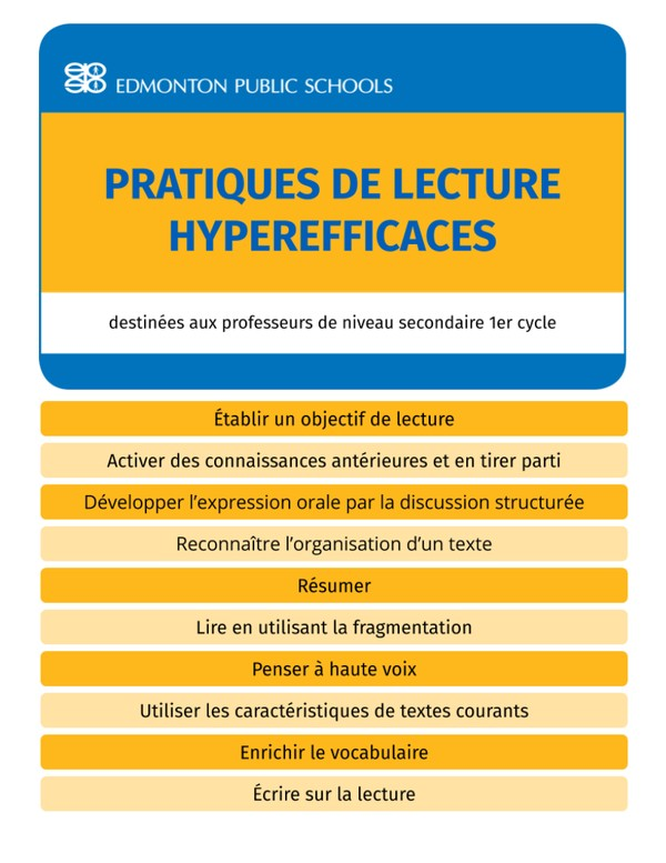 Secondaire 1er cycle - Pratiques de lecture hyperefficaces - Guide Book
