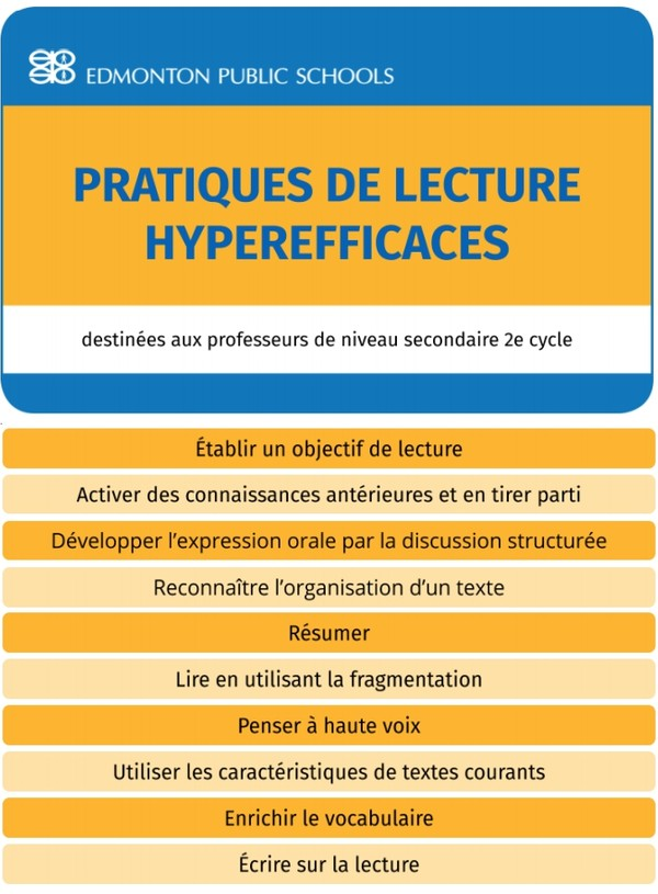 Secondaire 2e cycle - Pratiques de lecture hyperefficaces - Guide