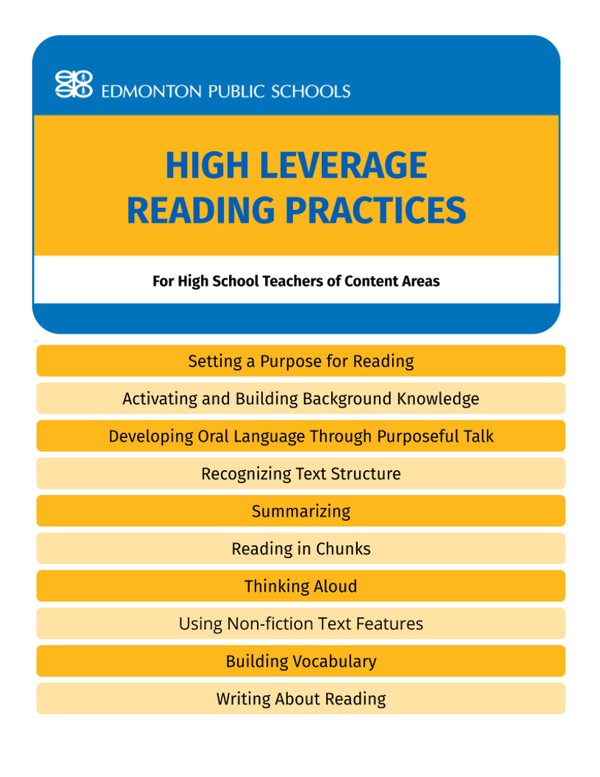 High School - High Leverage Reading Practices Guide Book