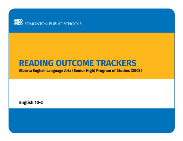 Reading Outcome Trackers for the English Language Arts POS English 10-2
