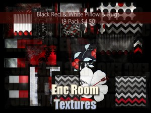 Black Red & White Pillows & Rug Pack