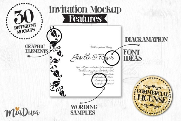 Miadiva wedding invitations layouts pack