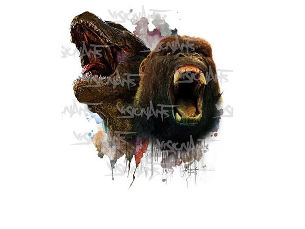 Monster Battle Art Poster