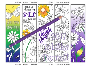 Coloring Bookmarks (Flowers and Butterflies - Inspirational JPG