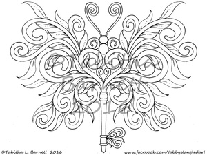Butterflis Coloring Pack #2 (6 new Tangled Butterflies PDF)  Landscape