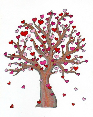 Heart Tree Coloring Page JPG