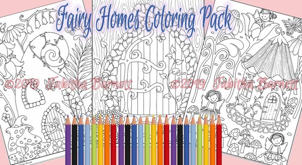 Fairy Homes Coloring Pack (3 page PDF)