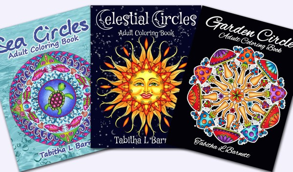 CIRCLES series Adult Coloring Book PDFs (Garden, Celestial and Sea Circles)