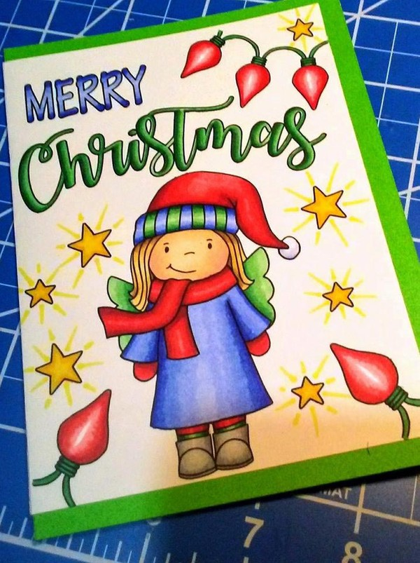 Fairy and Snowman Christmas Cards  (6 cards to color)