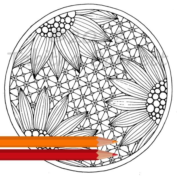 Tangled Circles Adult Coloring Pack (5 pg. PDF)