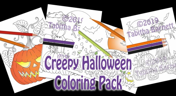 Creepy Halloween Coloring Pack (4 page PDF)