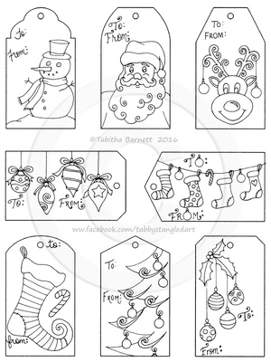 Print, Color, and Cut Hand Drawn Cute Christmas Gift Tags