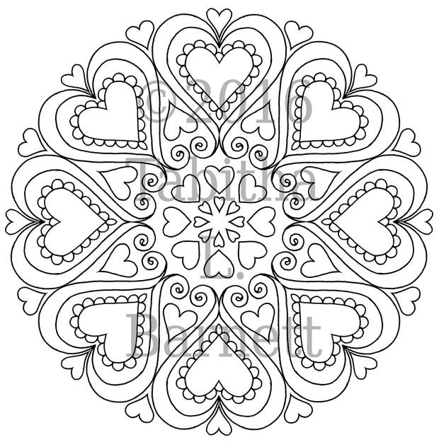 Heart Mandalas Coloring Pack (5 pages PDF)