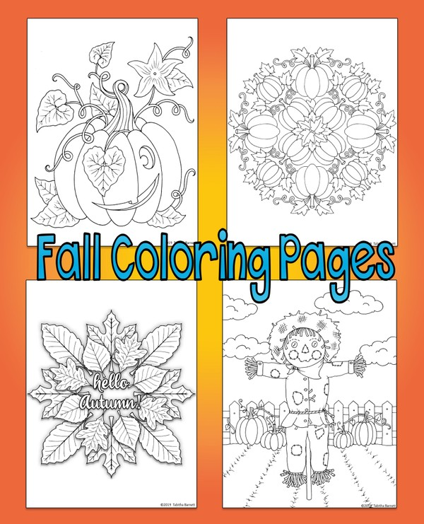 Fall Coloring Pack (4 page pdf)