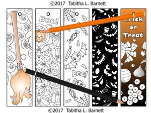 Halloween Coloring Bookmarks JPG SET 1