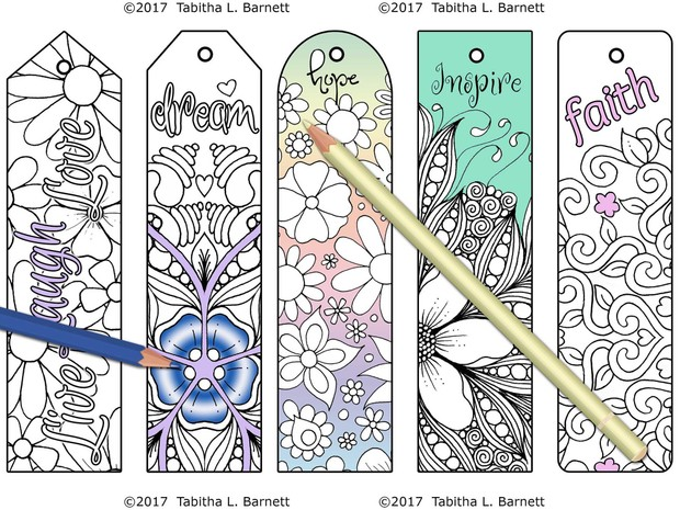 Inspirational Coloring Bookmarks JPG - Tabby\'s Tangled Art