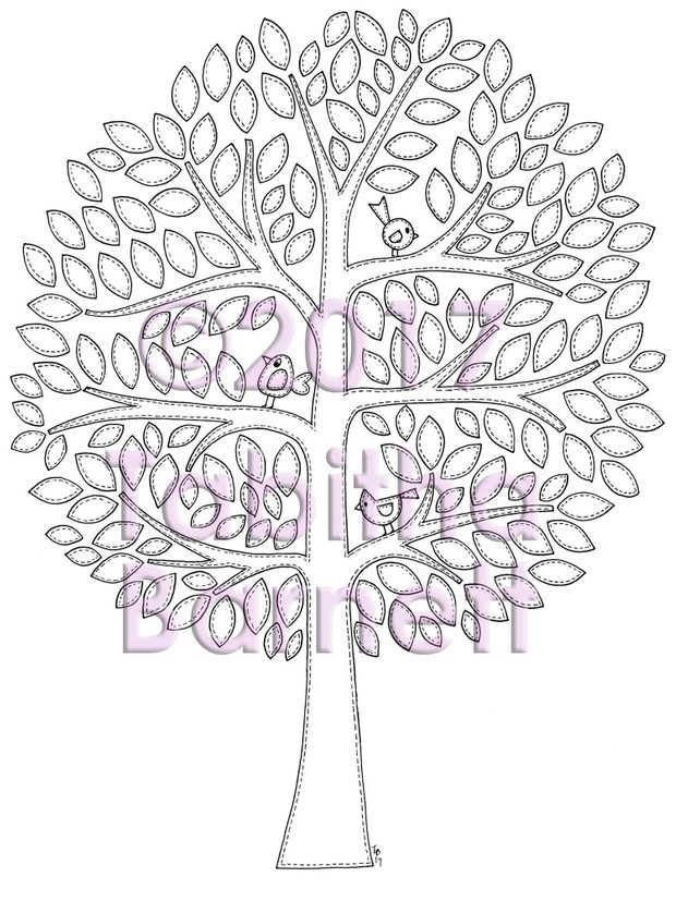 Patchwork Tree Adult Coloring Page
