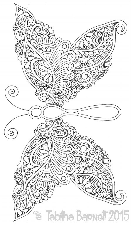 Tangleflies Coloring Pages PDF 6 Butterflies To Print And Color