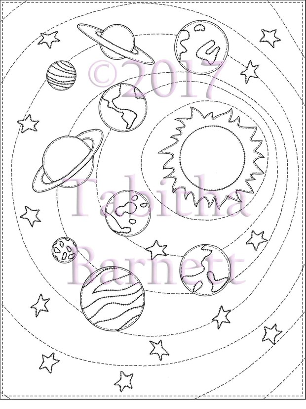 Patchwork Planets Adult Coloring Page JPG
