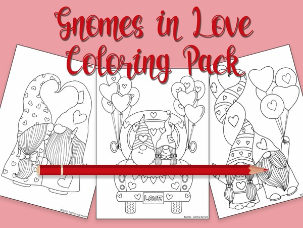 Gnomes in LOVE Coloring Pack