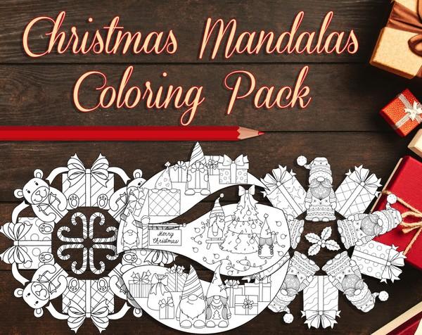 Christmas Mandalas Coloring Pack