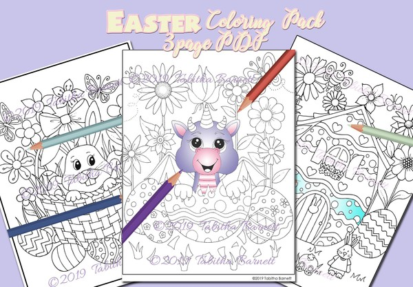 Tabby's Easter Coloring Pack (3 page PDF)