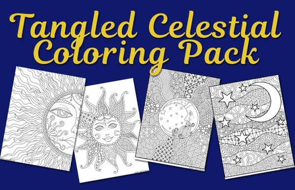 Tangled Celestial Coloring Pack (4 pg. pdf)