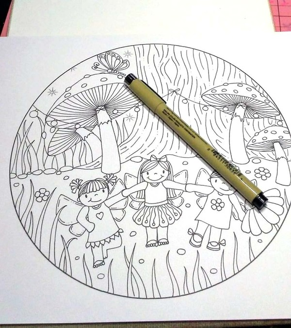 A Fairy Celebration Coloring Page PDF
