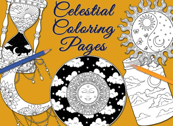 Celestial Coloring Pages (5 pg. pdf)