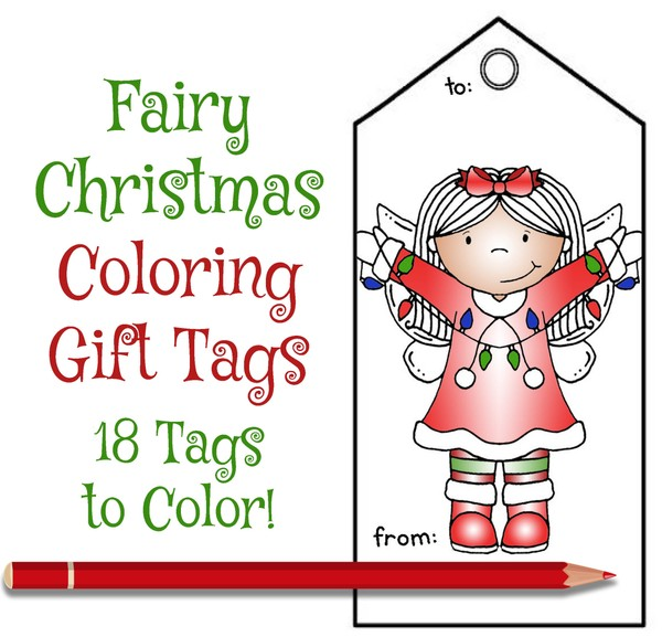 Fairy Christmas Coloring Gift Tags