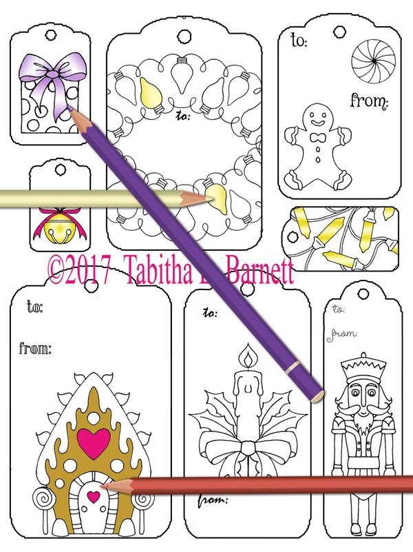 Print and Color Christmas Gift Tags JPG